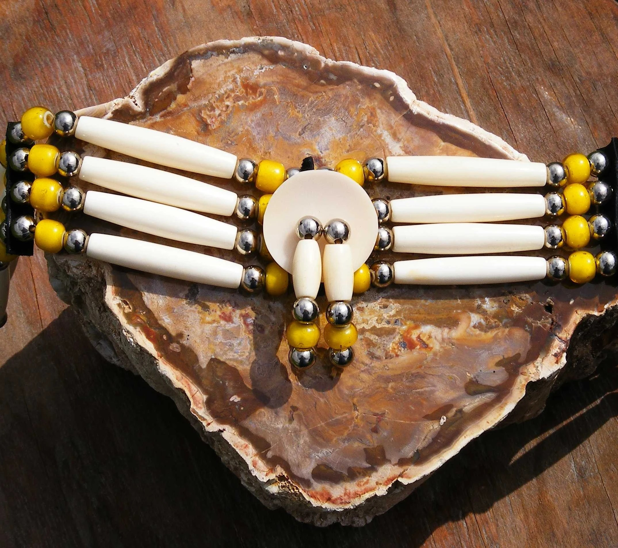 Native American Bone Choker Antique Trade Beads