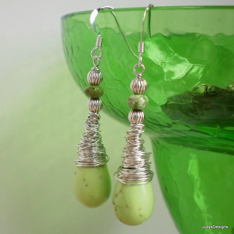 Apple Green Turquoise  Wire Wrapped Earrings