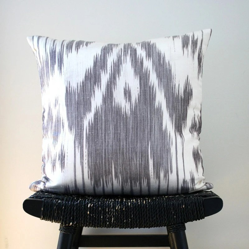 FIG IKAT Linen and Silk Cushion Cover 45 x 45 cm