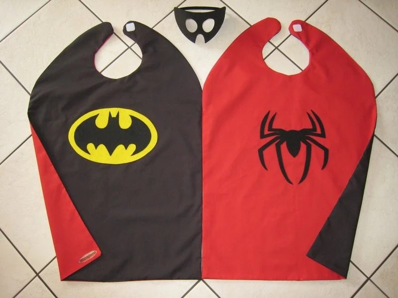 Reversible Batman Spiderman Halloween Costume Cape Boys Mask