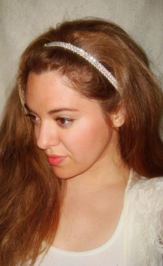 Jewel Rhinestone Headband- Satin ribbon, tie on