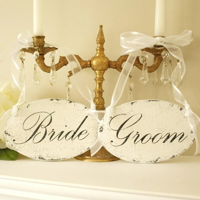 Wedding Sign Shabby Chic Bride and Groom Chair or Church Pew Hangers. Bridal Accessories Signs in Solid Wood.