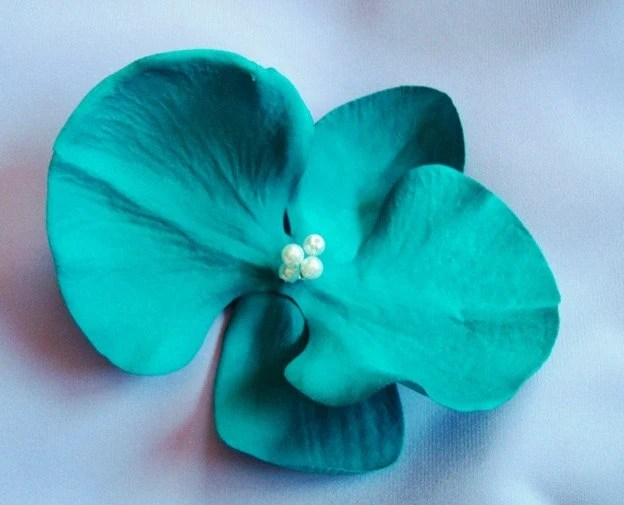 Teal Blue Green ORCHID Flower Hair Pin Clip By