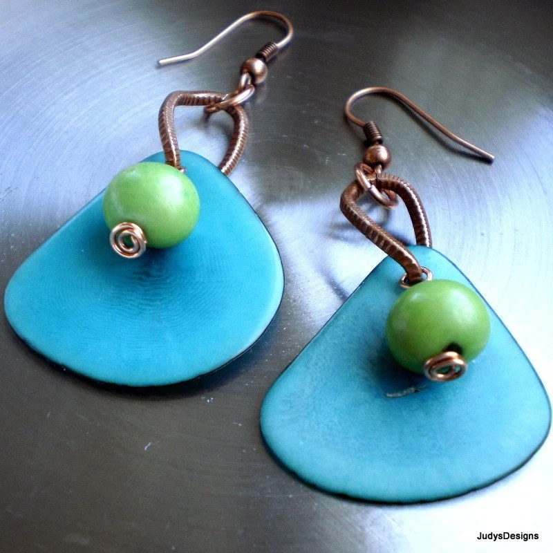 Turquoise  and lime  eco friendly organic tagua  earrings