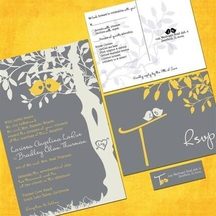 Custom Love Birdies Wedding Invitation Suite with RSVP postcards and address labels