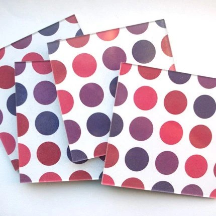Polka Dot Plexiglass Coasters - Set of 4