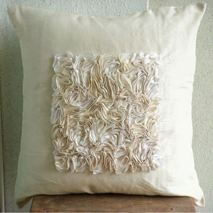 Vintage Love - Throw Pillow Covers - 16x16 Inches Silk Pillow Cover  with Ribbon Embroidery