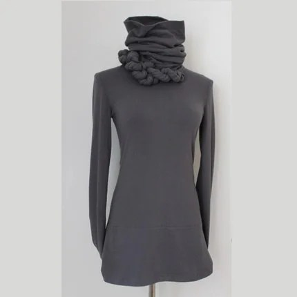 Erin Alexandra Klym Coiled Cord Funnel Turtleneck Top
