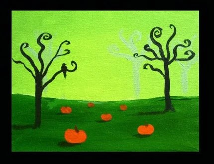 The Pumpkin Keeper- Original Acrylic Painting by Jamies Art 8x10