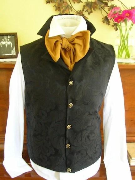 Black Rococo Waistcoat Regency Period Vest - REGENCY Style