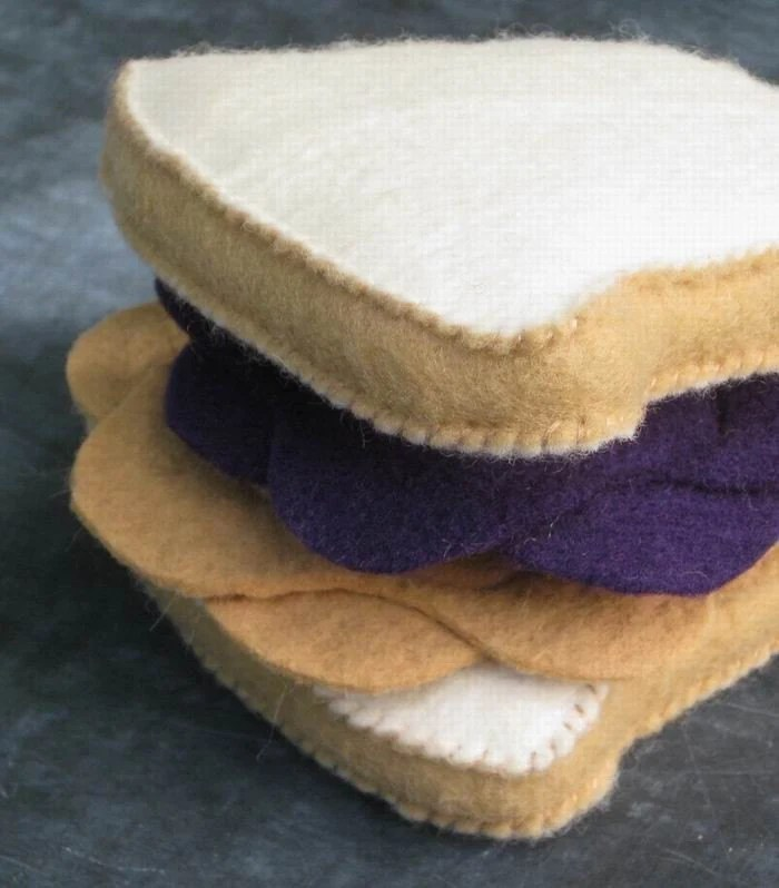 Peanut Butter and Jelly Sandwich Felt Food