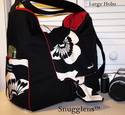 CUSTOM Cute Digital SLR HOBO camera bag..LARGE...Sofia black and offwhite w/red interior/SNUGGLENS
