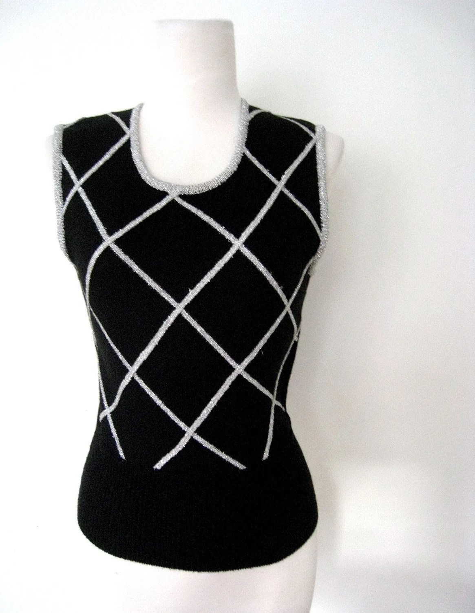 vintage CROSSING SILVER Metallic Sweater Vest Top