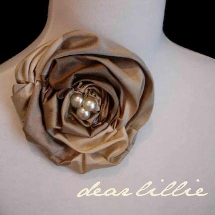 Silk and Pearl Rosette Clip - K