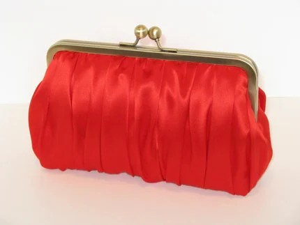 Silk Charmeuse Ruched Clutch In Red