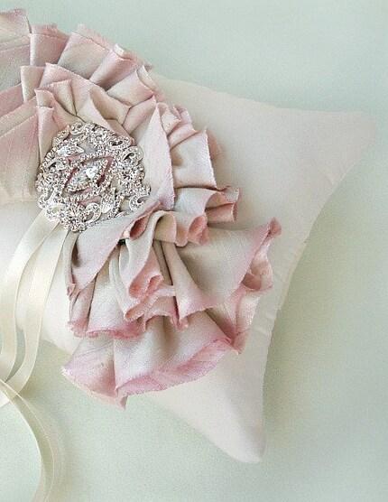Pink Silk Ombre Ruffle Ring Bearer Pillow
