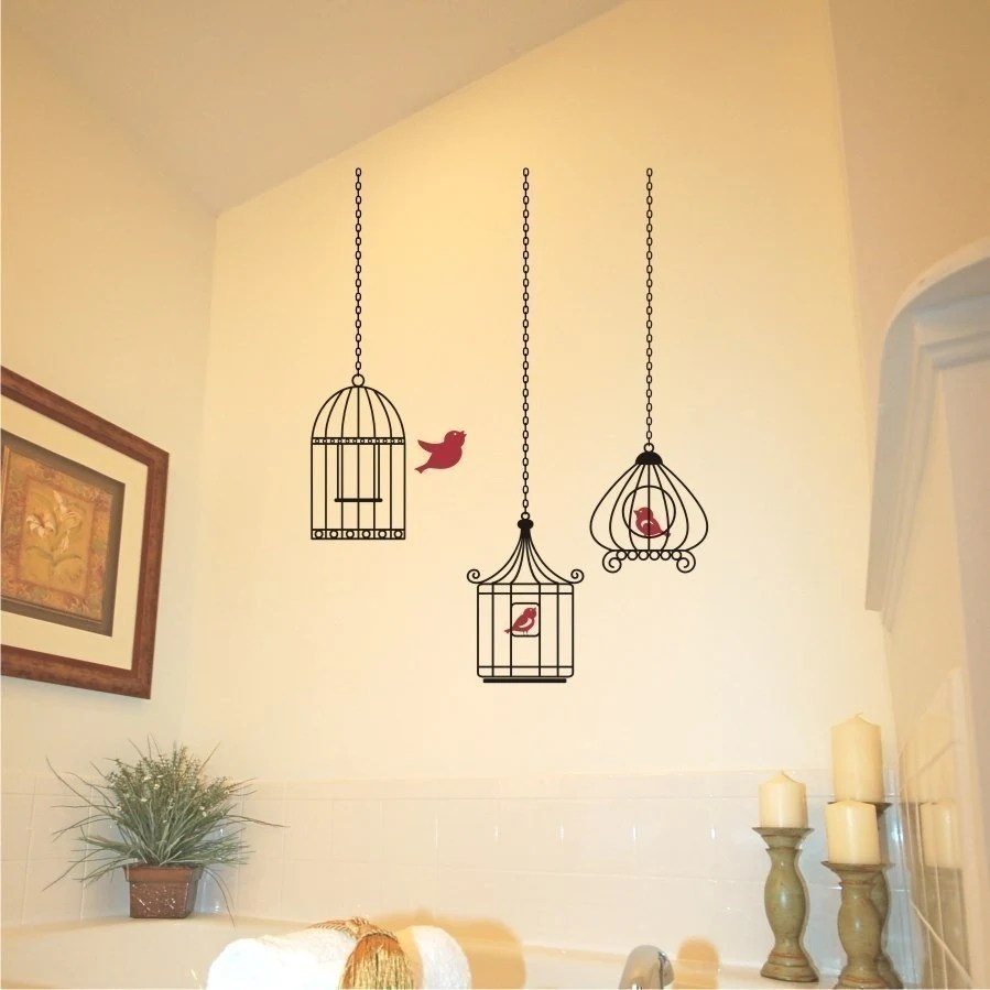 Birdcage Vinyl Wall Art Decal One Gets Away Grouping