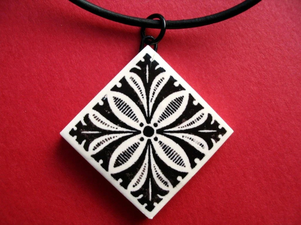 Black and White Tile Pendent - by BlossomArts