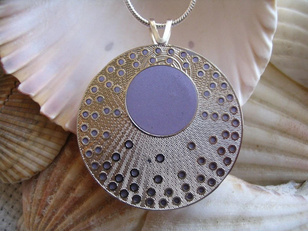 Lilac Purple and Silver Shimmer - Pendant Necklace- New design by BlossomArts