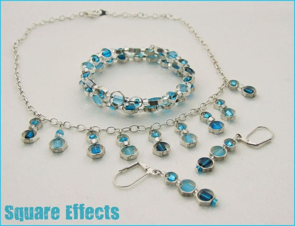 EBTW-on SALE-Blue hex necklace, earrings and bracelet set