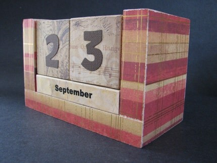 Perpetual Wooden Block Calendar - Red Gold and Browns