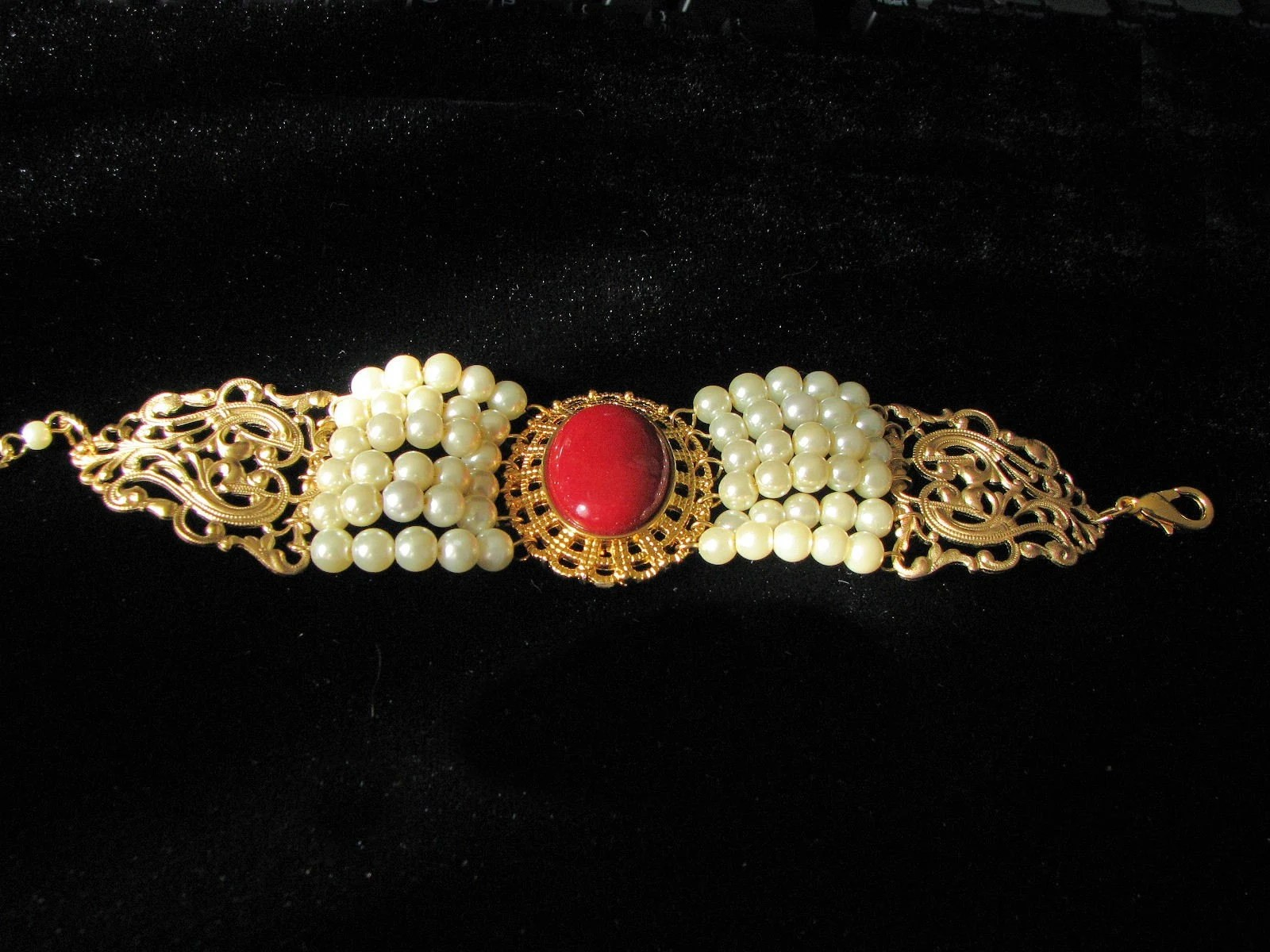red jade and pearl filigree bracelet