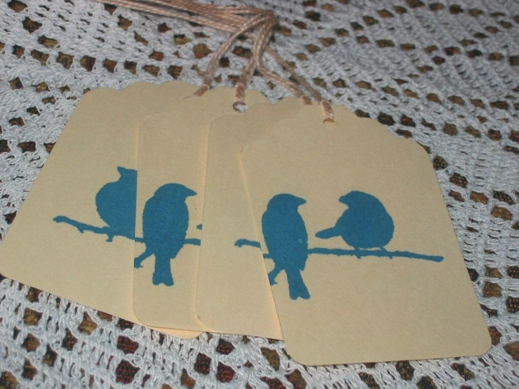 4 Blue Bird Hang Tags