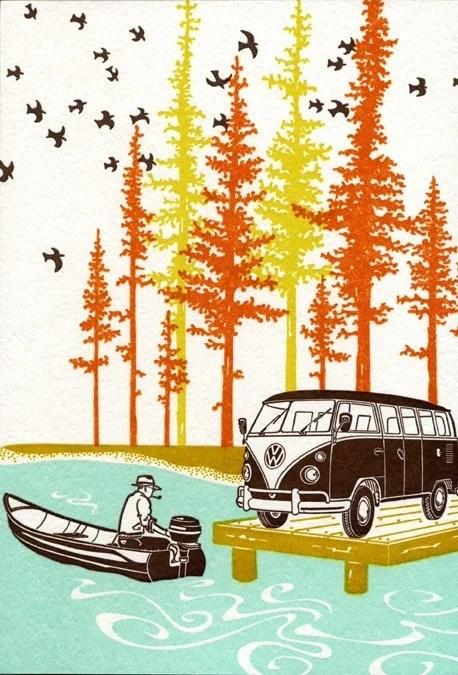 Volkswagon Camper Letterpress Print