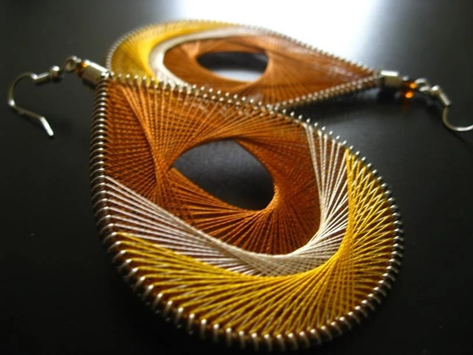 Handwoven Thread Earrings-Cognac