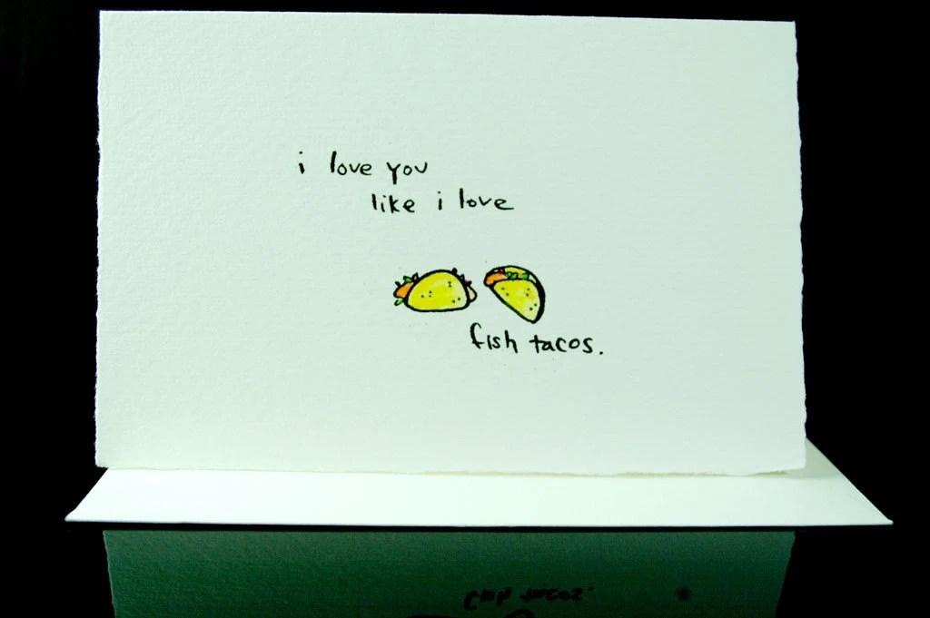 fish taco love--handprinted card