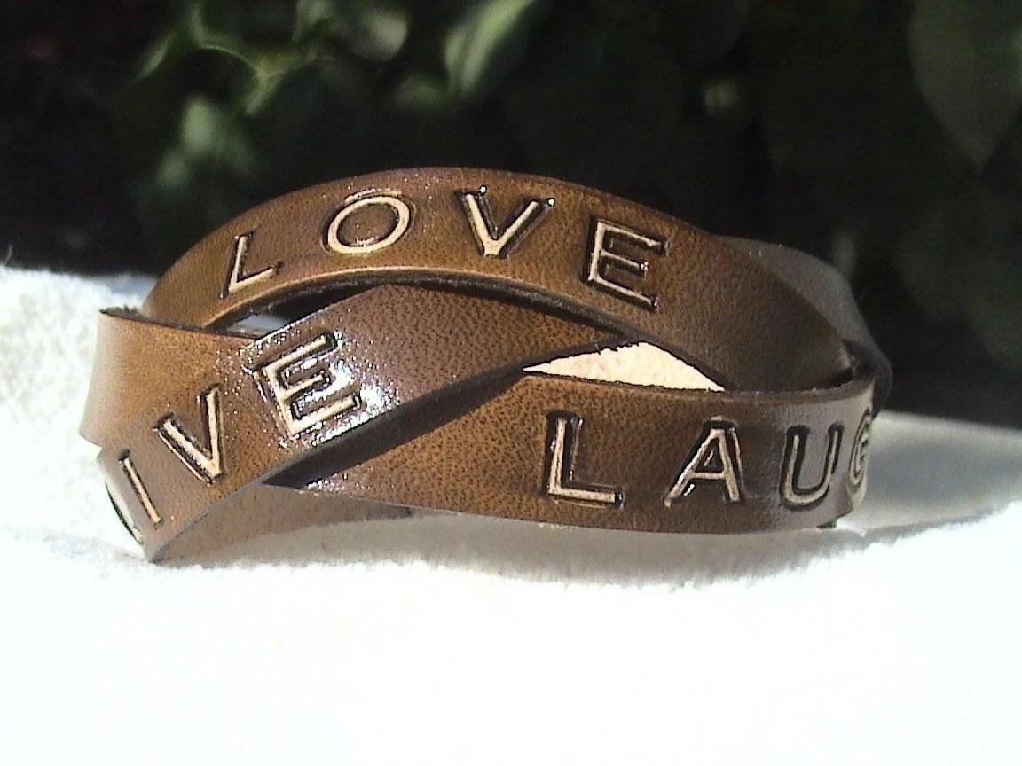 LIVE, LOVE, LAUGH - Leather Wristband - Unisex