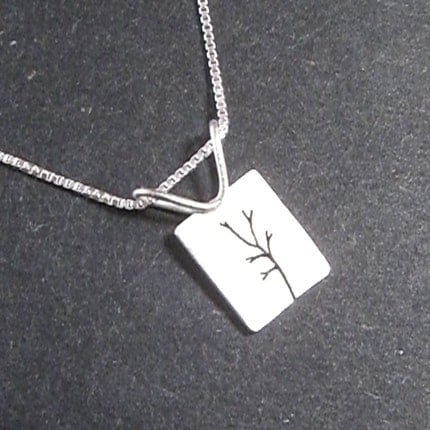 Handmade sterling silver tree jewelry with chain