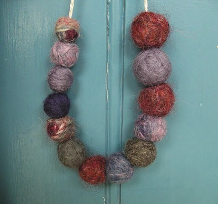 Asymmetrical Felted Yarn Ball Necklace - purple, lavender, burgundy