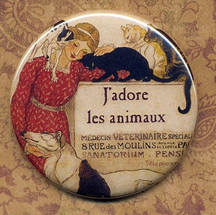 J'adore animals Vintage French Veterinarian mirror