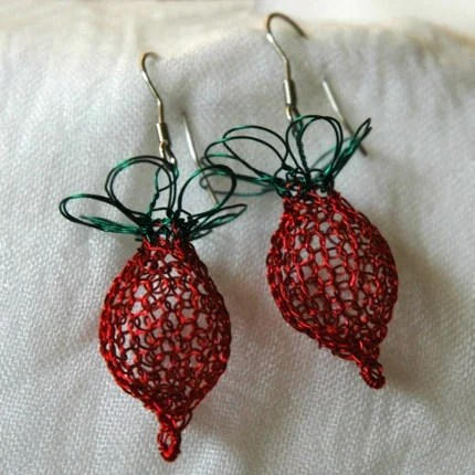 Radish earrings n red and green - exquisite - inspired by Luna Lovegood character