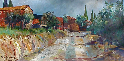 Italian farmhouse road original oil on canvas.  Ships for 20.00.  Prints available too.