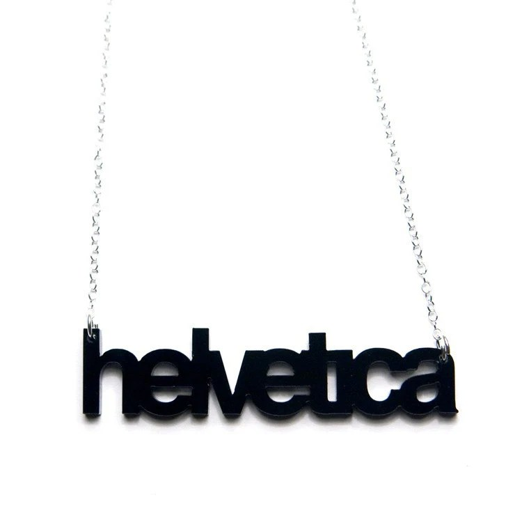 helvetica typography necklace, $20