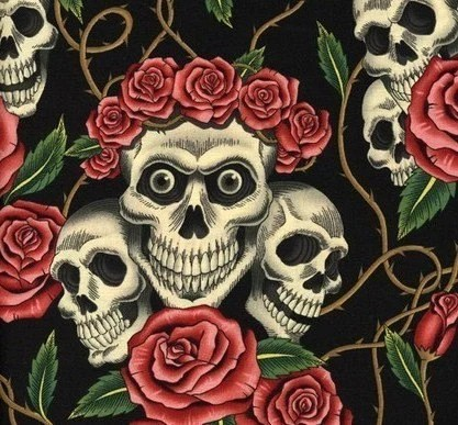 Rose Tattoo black cotton fabric from