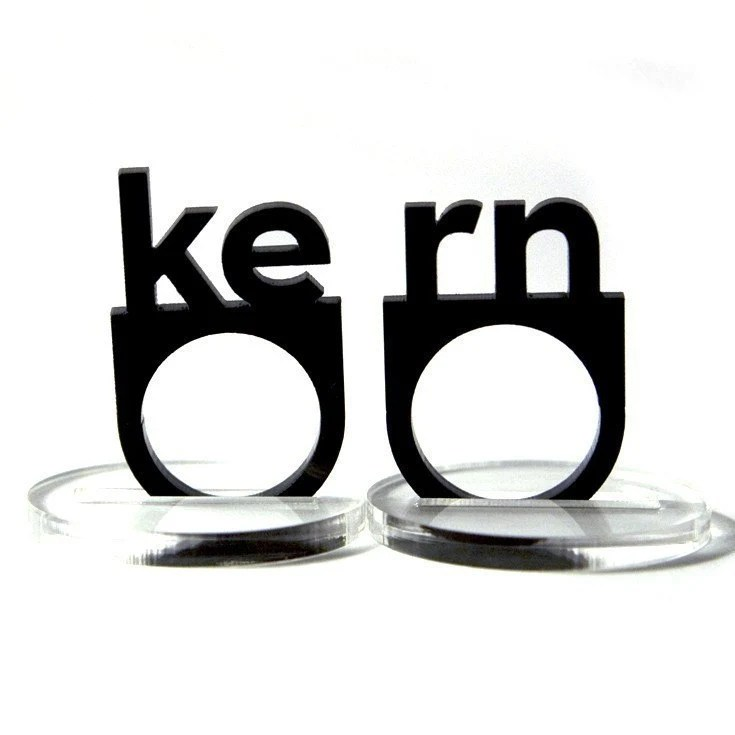 typographic kern acrylic ring set, $11