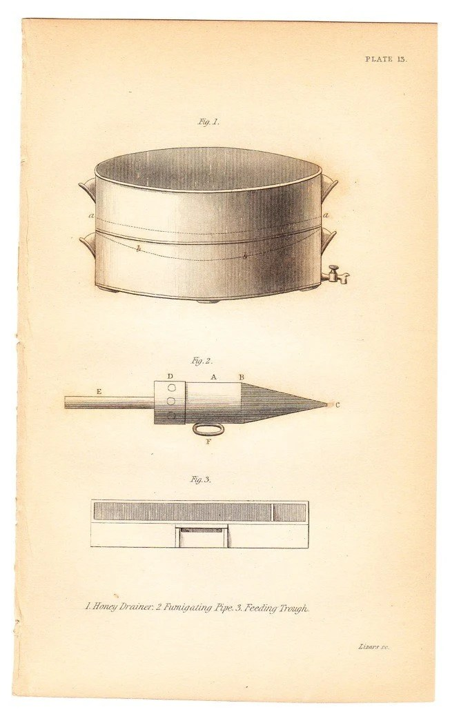 1843 Honey Drainer, Fumigating Pipe, Feeding Trough . Antique Entomology Bee Print - original hand coloured old art engraving
