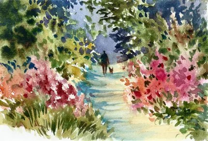 TAKING THE DOG FOR A WALK UP THE GARDEN PATH A 9 X 6 inch ORIGINAL Watercolor  DAILY painting