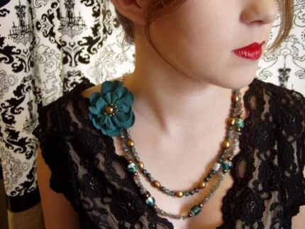 Fabulous Double Strand With Turqoise Flower