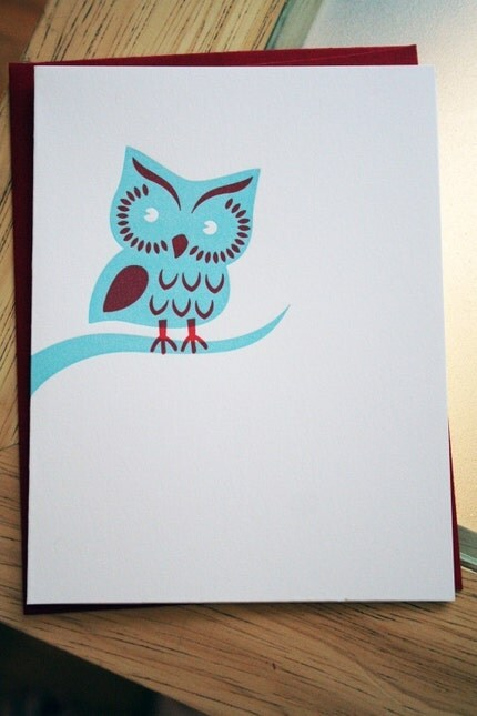 Owl Letterpress Notecard
