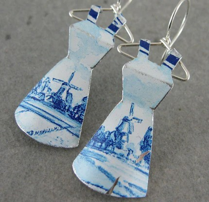 RESERVED for BobbinStreet Recycled Tin Mini Dress Earrings- No. 62 Delft Blue