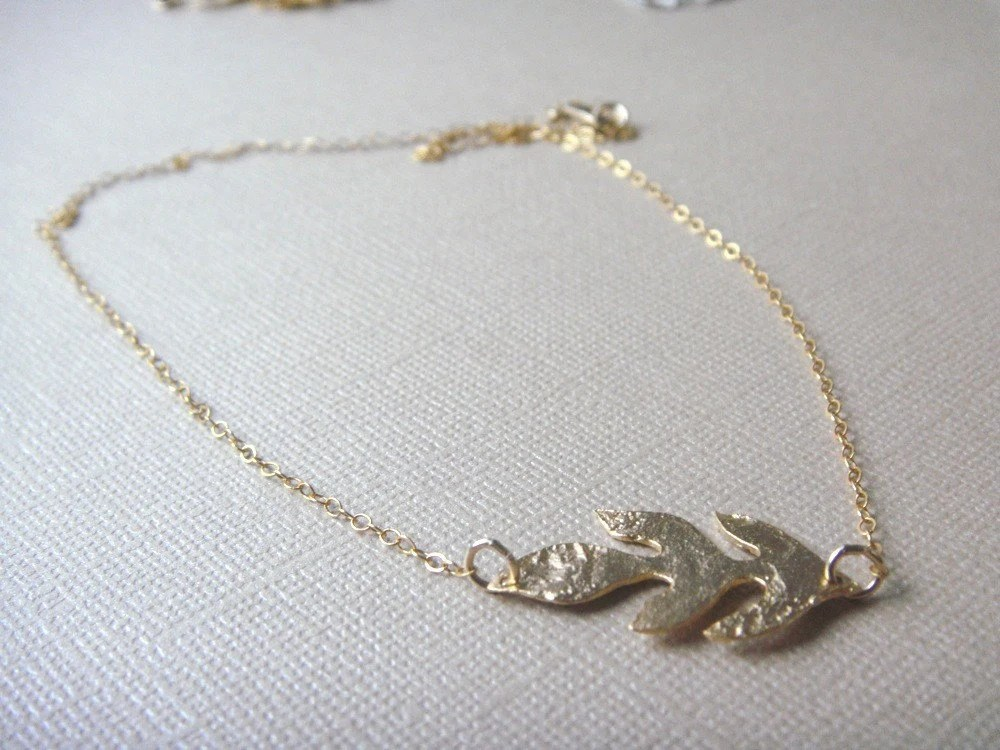 THE TEXTURED  LEAF NECKLACE