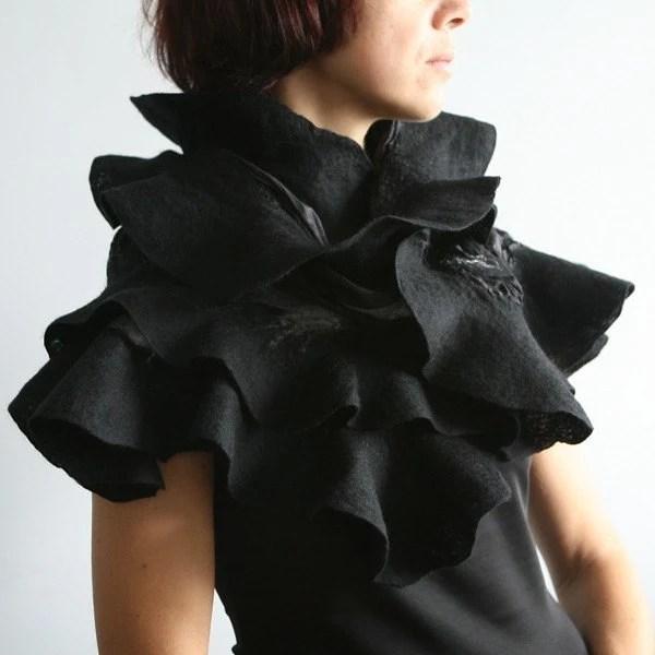 Nuno Felted Shawl - - - Black Elegance - Handmade to Order