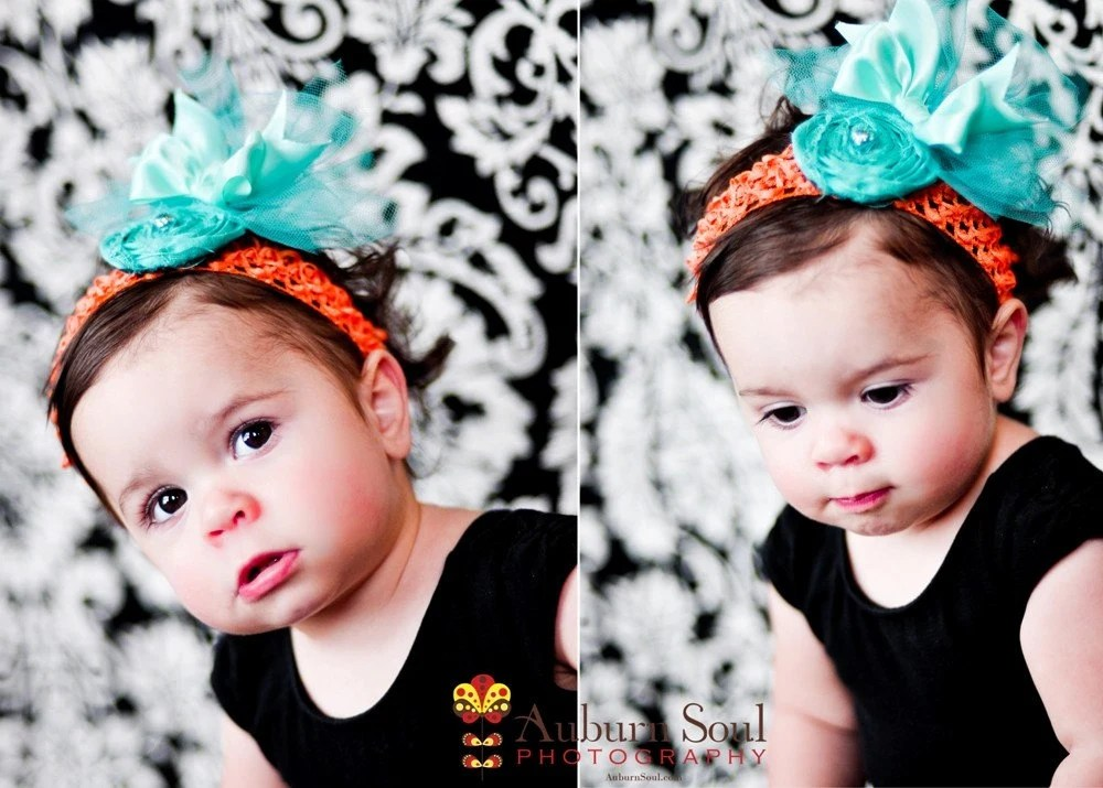 KIMMY- baby  bow head band with rosette and tulle