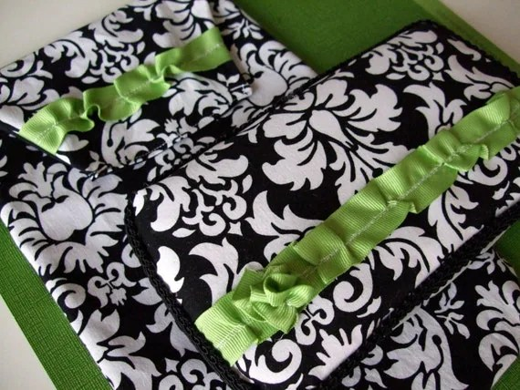 Dandy Damask with Green Ruffles Diaper Clutch and Wipes Case with Free Card