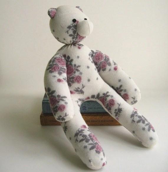 Handmade Bear - Floral Sock Bear