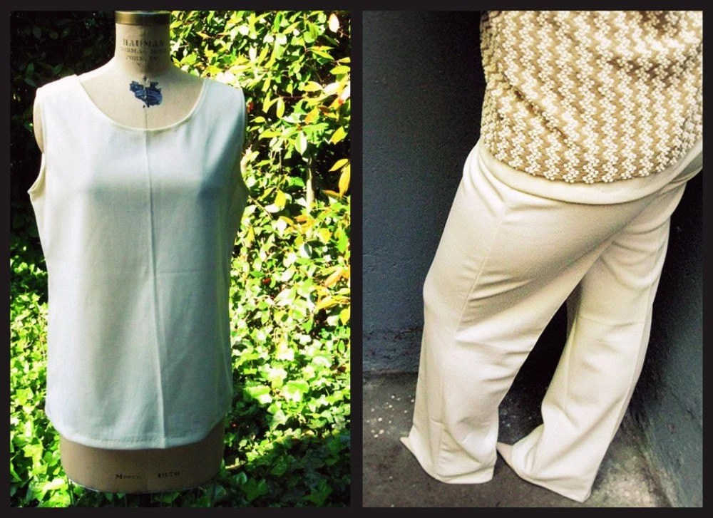 SALE vintage tank pant set CREAM flare poly